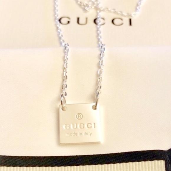 0e737bbc9 Gucci Accessories | New Square Pendant Sterling Silver Necklace ...
